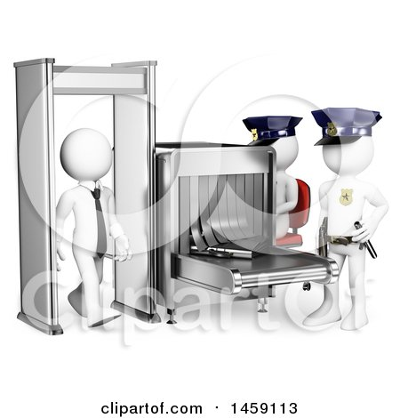 Clipart of a 3d White Business Man Walking Through a Security Detector, on a White Background - Royalty Free Illustration by Texelart