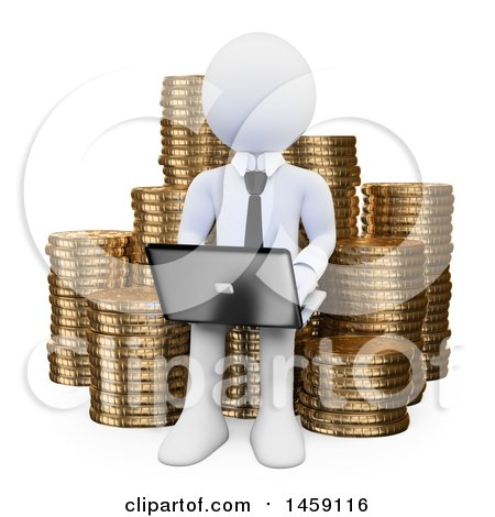 Clipart of a 3d White Business Man Using a Laptop on a Stack of Coins, on a White Background - Royalty Free Illustration by Texelart