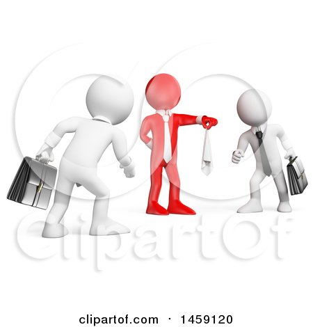 Clipart of a 3d Red Business Man Starting a Fight Between Two White Guys, on a White Background - Royalty Free Illustration by Texelart