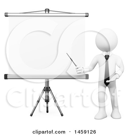 Clipart of a 3d White Business Man Presenting a Projection Screen, on a White Background - Royalty Free Illustration by Texelart