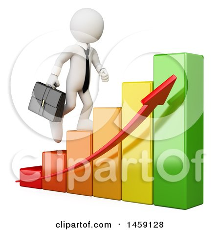 Clipart of a 3d White Business Man Climbing a Growing Bar Graph, on a White Background - Royalty Free Illustration by Texelart