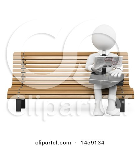 Clipart of a 3d White Business Man Looking for a Job in the Newspaper, on a White Background - Royalty Free Illustration by Texelart