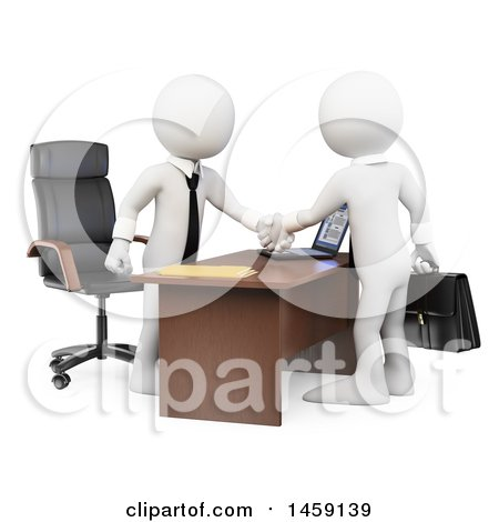 3d White Business Men Shaking Hands over a Desk, on a White Background Posters, Art Prints