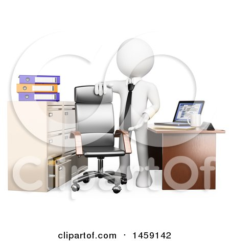 Clipart of a 3d White Business Man Welcoming Someone to Their New Office, on a White Background - Royalty Free Illustration by Texelart