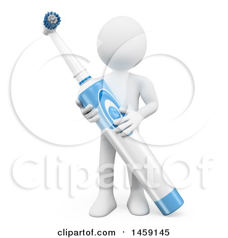 Clipart of a 3d White Man with an Electric Toothbrush, on a White Background - Royalty Free Illustration by Texelart