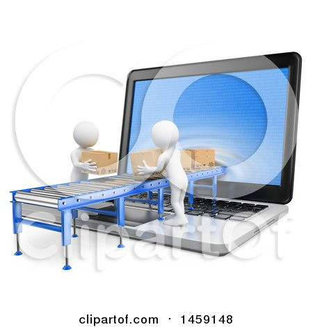 Clipart of 3d White Men Loading Packages Through a Laptop Screen, on a White Background - Royalty Free Illustration by Texelart