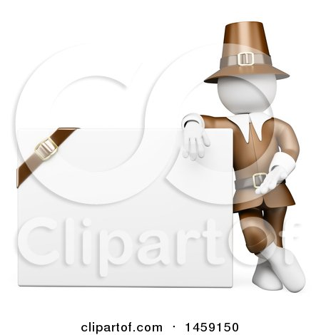 Clipart of a 3d White Man Thanksgiving Pilgrim with a Blank Sign, on a White Background - Royalty Free Illustration by Texelart