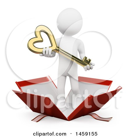 Clipart of a 3d White Man Holding a Heart Key and Popping out of a Gift Box, on a White Background - Royalty Free Illustration by Texelart