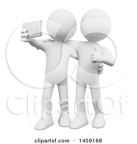 Clipart of a 3d White Man Taking a Selfie with a Friend, on a White Background - Royalty Free Illustration by Texelart