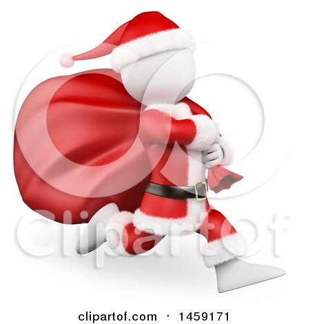 Clipart of a 3d White Man Santa Running with a Sack, on a White Background - Royalty Free Illustration by Texelart