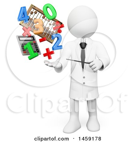 Clipart of a 3d White Man Teacher with Math Items and Numbers, on a White Background - Royalty Free Illustration by Texelart