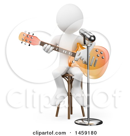 Clipart of a 3d White Man Playing a Guitar and Singing, on a White Background - Royalty Free Illustration by Texelart