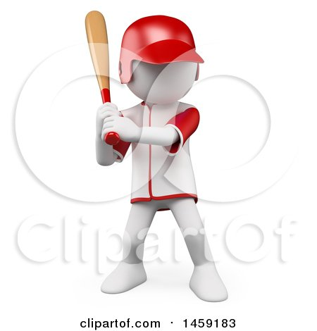 Clipart of a 3d White Man Playing Baseball, on a White Background - Royalty Free Illustration by Texelart