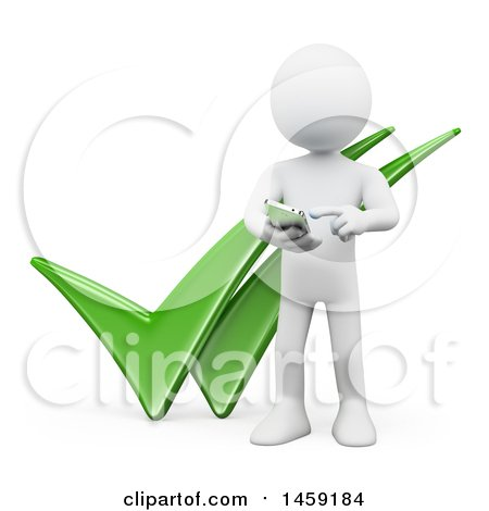 Clipart of a 3d White Man Using a Cell Phone over Two Tick Marks, on a White Background - Royalty Free Illustration by Texelart