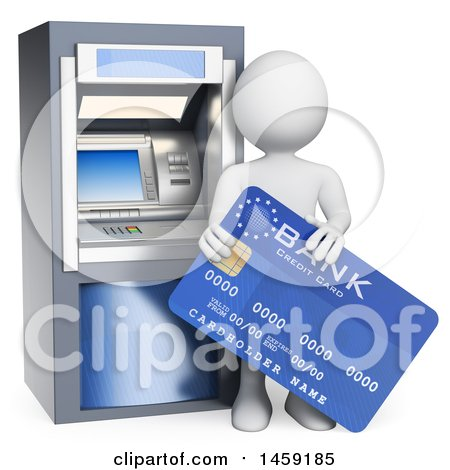 Clipart of a 3d White Man with a Bank Card at an Atm, on a White Background - Royalty Free Illustration by Texelart