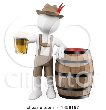 Clipart of a 3d White Man Oktoberfest Guy with a Beer Mug and Barrel, on a White Background - Royalty Free Illustration by Texelart