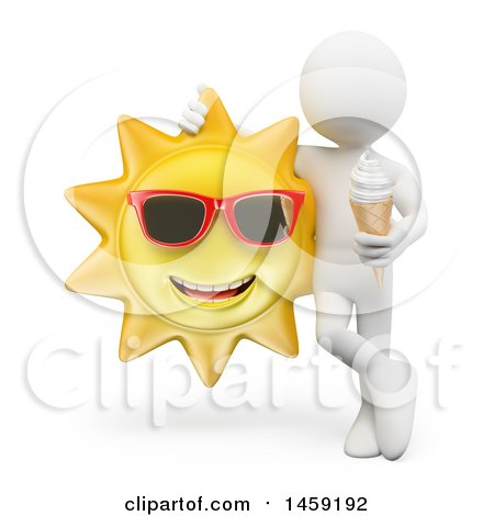 Clipart of a 3d White Man with Ice Cream and a Sun, on a White Background - Royalty Free Illustration by Texelart