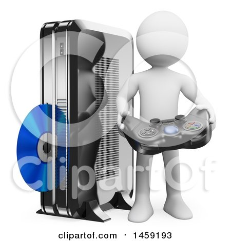 Clipart of a 3d White Man with a Game Console, on a White Background - Royalty Free Illustration by Texelart