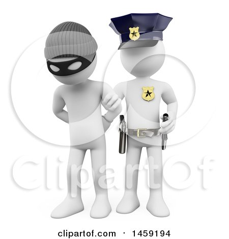 Clipart of a 3d White Man Burglar Being Arrested, on a White Background - Royalty Free Illustration by Texelart