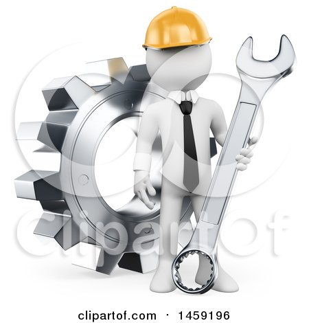 Clipart of a 3d White Man Engineer with a Wrench and Gear, on a White Background - Royalty Free Illustration by Texelart