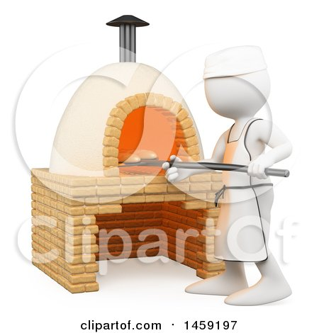 Clipart of a 3d White Man Making Bread in a Brick Oven, on a White Background - Royalty Free Illustration by Texelart