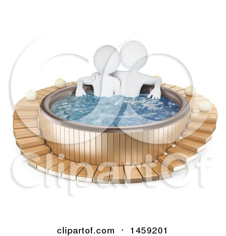 Clipart of a 3d White Couple in a Hot Tub, on a White Background - Royalty Free Illustration by Texelart