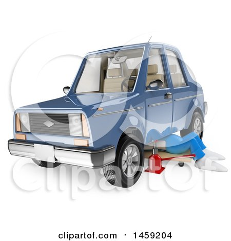 Clipart of a 3d White Man Mechanic Working Under a Car, on a White Background - Royalty Free Illustration by Texelart