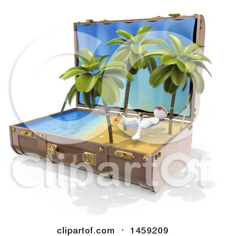 Clipart of a 3d White Man Relaxing on a Hammoc on a Tropical Beach in a Suitcase, on a White Background - Royalty Free Illustration by Texelart
