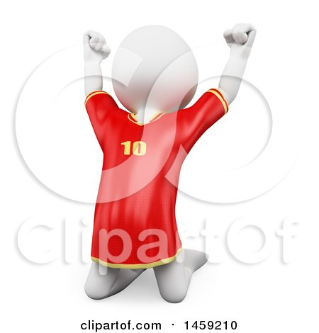 Clipart of a 3d White Man Soccer Player Jumping, on a White Background - Royalty Free Illustration by Texelart