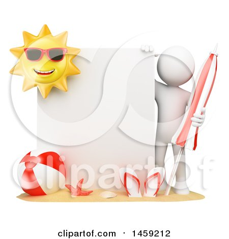 Clipart of a 3d White Man with Summer Beach Gear by a Sign, on a White Background - Royalty Free Illustration by Texelart