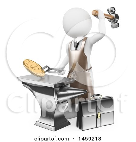 Clipart of a 3d White Man Minting Coins, on a White Background - Royalty Free Illustration by Texelart