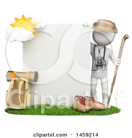 Clipart of a 3d White Man with Mountain Gear and a Sign, on a White Background - Royalty Free Illustration by Texelart