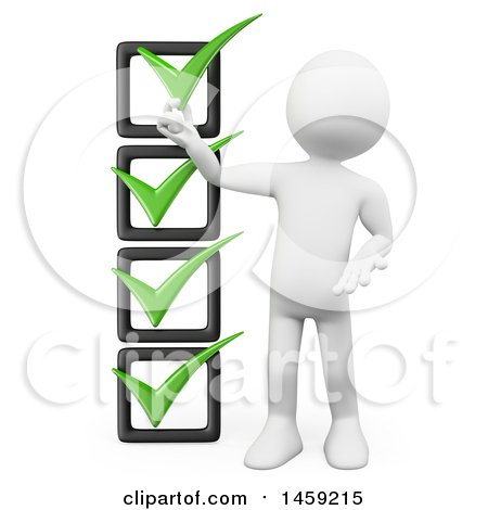 Clipart of a 3d White Man with a Check List, on a White Background - Royalty Free Illustration by Texelart