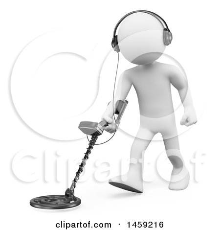 Clipart of a 3d White Man Using a Metal Detector, on a White Background - Royalty Free Illustration by Texelart