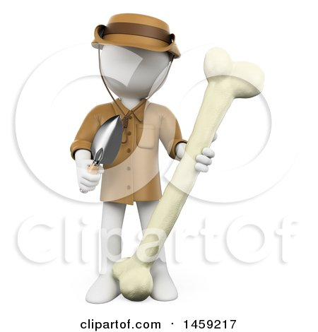 Clipart of a 3d White Man Archaeologist or Paleontologist with a Bone, on a White Background - Royalty Free Illustration by Texelart