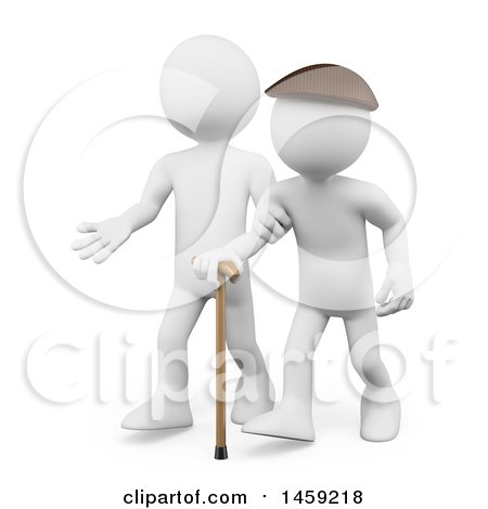Clipart of a 3d White Man Helping a Senior Citizen, on a White Background - Royalty Free Illustration by Texelart