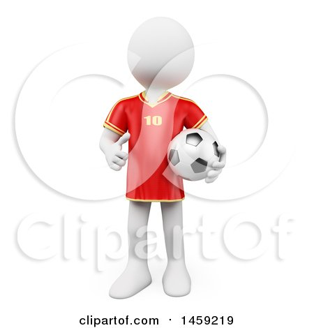 Clipart of a 3d White Man Soccer Player Holding a Ball, on a White Background - Royalty Free Illustration by Texelart