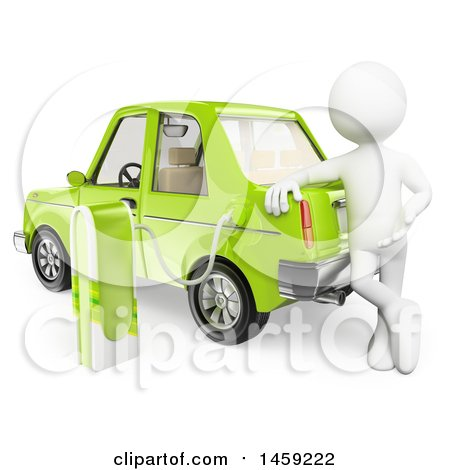 Clipart of a 3d White Man Charging an Electric Car, on a White Background - Royalty Free Illustration by Texelart