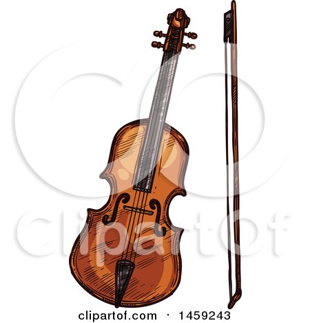 Clipart of a Sketched Violin Instrument - Royalty Free Vector Illustration by Vector Tradition SM