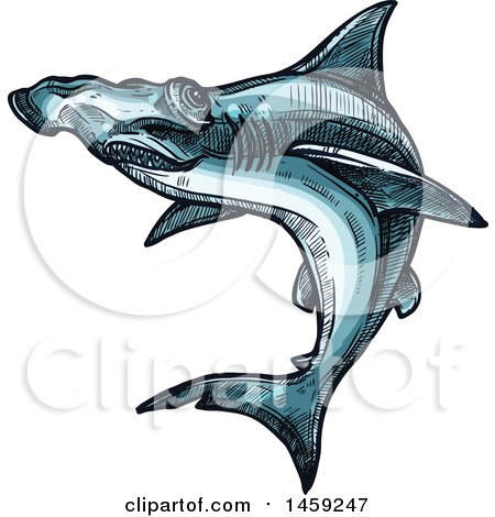 Clipart of a Sketched Hammerhead Shark - Royalty Free Vector Illustration by Vector Tradition SM