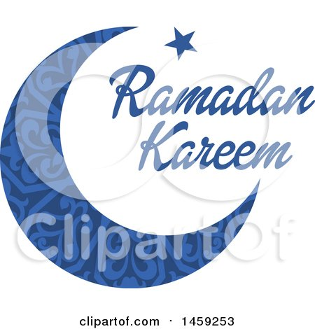 Clipart of a Blue Ramadan Kareem Design with a Moon and Text - Royalty Free Vector Illustration by Vector Tradition SM