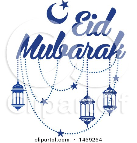 Clipart of a Blue Eid Mubarak Design with a Moon, Lanterns and Text - Royalty Free Vector Illustration by Vector Tradition SM