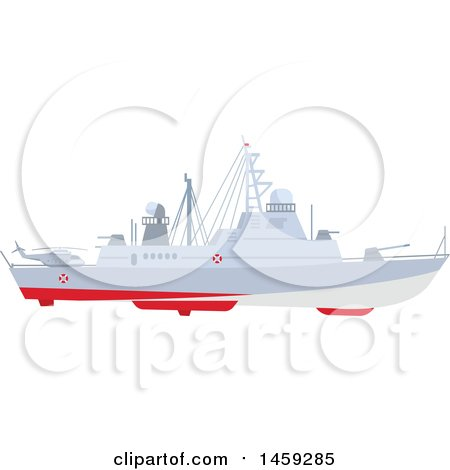 Clipart of a Military Ship - Royalty Free Vector Illustration by Vector Tradition SM