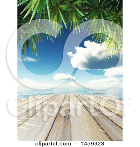 Clipart of a 3d Wooden Dock Against a Tropical Ocean with Palm Branches - Royalty Free Illustration by KJ Pargeter