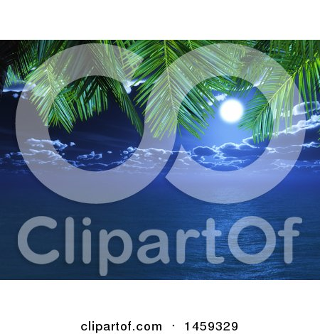 Clipart of a Night Sky and Ocean Framed by 3d Palm Branches - Royalty Free Illustration by KJ Pargeter
