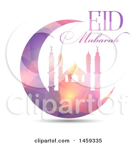 Clipart of an Eid Mubarak Background with a Geometric Mosque and Text - Royalty Free Vector Illustration by KJ Pargeter