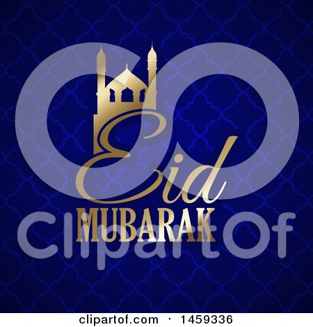 Clipart of an Eid Mubarak Background with a Gold Mosque and Text - Royalty Free Vector Illustration by KJ Pargeter