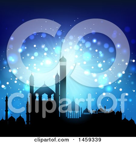 Clipart of a Silhouetted Mosque Ramadan Kareem Background - Royalty Free Vector Illustration by KJ Pargeter