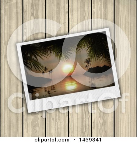 Clipart of a 3d Bay Polaroid Picture over Wood - Royalty Free Illustration by KJ Pargeter