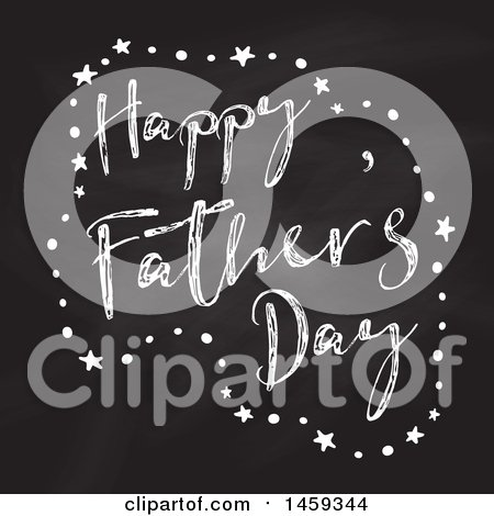 Clipart of a Happy Fathers Day Chalk and Blackboard Design - Royalty Free Vector Illustration by KJ Pargeter